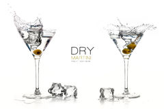 Dry Martini Cocktails. Splashes. Design Template Stock Photography