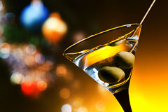 Dry martini with olives Stock Photos