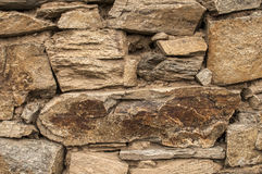 Dry masonry stone wall closeup Stock Photo
