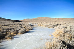 Dry Meadow with Iced Canal in Ghost Town. Dry meadow with iced canal in Bodie ghost town with blue sky Royalty Free Stock Images