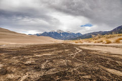 Dry Medano creek at Great sand dunes NP Stock Photo
