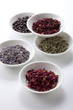 Dry medicinal herbs. Assortment of dry medicinal herbs in bowls Stock Images