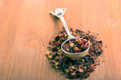 Dry mix of red herbal and fruit tea Stock Images