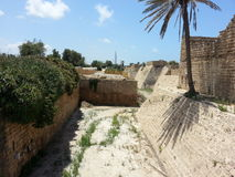 The dry mote of the crusader castle fort at Caesarea Maritima Royalty Free Stock Images