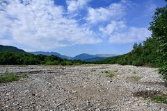 Dry mountain river, landscape Stock Images
