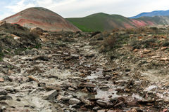 Dry mountain river. Small mountain river in winter time Stock Photo