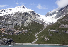 Dry Mountain Stream. The view of scenic landscape at the end of Spring in Glacier Bay national park Alaska Stock Photo