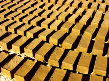 Dry mud bricks. Mud bricks waiting under hymalayan sun to get dry Stock Photo