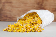 Dry mullein flowers. In a paper bag for herbal tea Stock Image