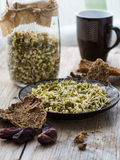 Dry mung bean sprouts with loaves Stock Photography
