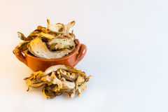 Dry mushrooms in a little brown pottery cup Stock Image