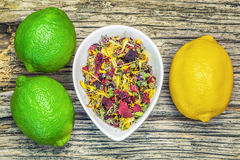 Dry Natural herbal tea with lime and lemon Royalty Free Stock Photos
