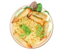 A dry noodle shrimp plate. Topview on delicious dry noodle shrimp plate of vietnamese food Royalty Free Stock Image