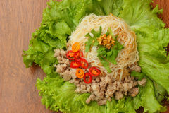 Dry noodles with pork Stock Photos