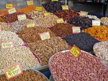 Dry nuts and fruits. On a market stall royalty free stock photo