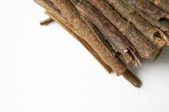 Dry oak bark on a white background. Quercus cortex. Quercus robur.  Stock Photos