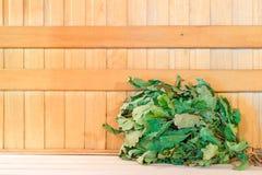 Dry oak broom for a bath Stock Photos