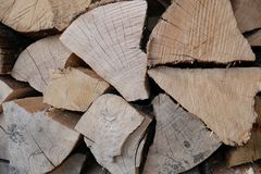 Dry oak firewood with cracks royalty free stock photography