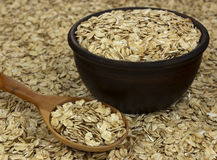 Dry oat flakes oatmeal in bowl on the background with wooden spo Stock Photography