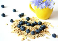 Dry oatmeal, Breakfast. The concept of a healthy diet, diet. royalty free stock photo