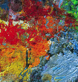 Dry oil artist palette Stock Images