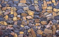 Dry old stone wall texture background close-up Stock Photo