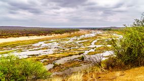 The almost dry Olifant River in Kruger National Park in South Africa at the end of the dry season. Viewed from Olifant Camp Royalty Free Stock Photo
