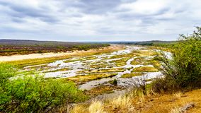 The almost dry Olifant River in Kruger National Park in South Africa. At the end of the dry season seen from the viewpoint in Olifant Rest Camp Stock Images