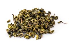 Dry oolong tea leaves. On white Royalty Free Stock Photography