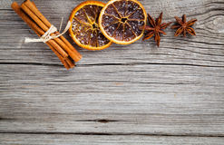 Dry orange, cinnamon and Star Anise Stock Photo