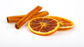 Dry orange and cinnamon Royalty Free Stock Images