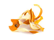 Dry Orange Peel Isolated on White Background. Zest Photographed with Natural Light Top View Royalty Free Stock Image