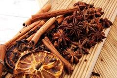 Dry orange slices, cinnamon sticks, anise and clove christmas sp Stock Image