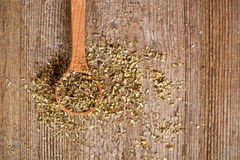 Dry oregano in wooden spoon Royalty Free Stock Image