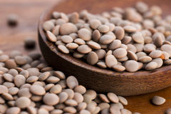 Dry Organic brown Lentils Royalty Free Stock Photography