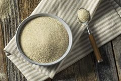 Dry Organic Ground Farina Wheat. In a Bowl Stock Images