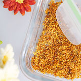 Dry osmanthus. Osmanthus is a longtime student of the plant, its flowers and pleasant fragrance, dried osmanthus is a beverage and medicine Stock Photo