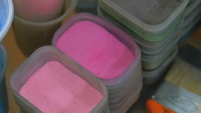 Dry paint boxes stock footage