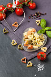Dry pasta as hearts Royalty Free Stock Images