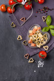 Dry pasta as hearts Royalty Free Stock Photography