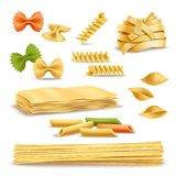 Dry Pasta Assortment Realistic Icons Set. Dry pasta types assortment of spaghetti shells colored butterflies and fusilli springs realistic icons collection Royalty Free Stock Photos