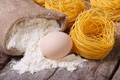 Dry pasta in the form of nests, a raw egg and a bag of flour Royalty Free Stock Photo