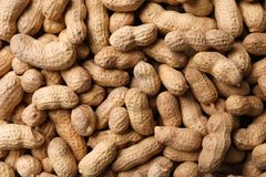 Dry peanuts in shell as background, top view. Healthy snack stock image