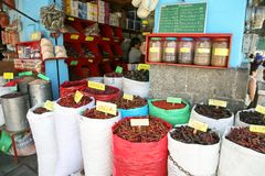 Dry pepper and other spices trading in Oaxaca, Mexico Stock Photos