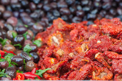 Dry peppers in oil Royalty Free Stock Images