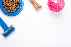 Dry pet food in bowl and toys for dogs on white background top view Royalty Free Stock Photo