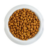 Dry pet food in a white bowl Royalty Free Stock Photography