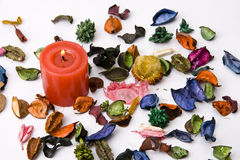 Dry petals and candles Stock Photo