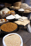 Dry Popped Grains. A vendor in the market of Rishikesh India that sells only popped dry grains including rice and chick pea Royalty Free Stock Image