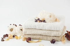 Dry potpourri and towel. Stack of clean towels Royalty Free Stock Image